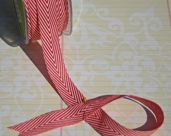 "Red Chevron Striped Twill - May Arts Ribbons - 3/4"" Wide - 6 Yards - Destash Sale"