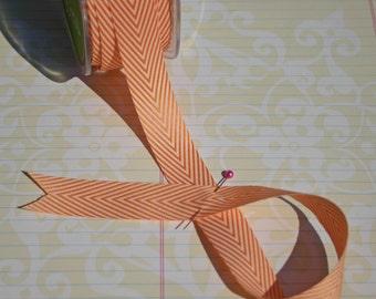 "Orange Chevron Striped Twill Trim - May Arts Ribbons - 3/4"" - 6 Yards - LAST OF SPOOL"
