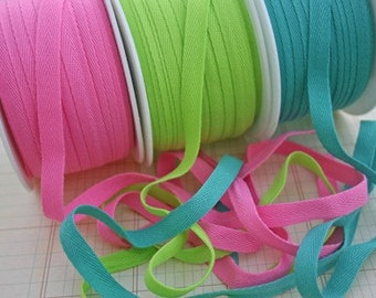 "TEAL Twill Tape Trim - Polyester - Sewing Bunting Shipping Packaging - 3/8"" Wide - 10 Yards"