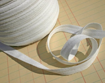 "Twill White Cotton Trim Tape - Sewing Bunting Banners Shipping Packaging - 1/2"" -  20 Yards"