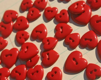 """Red Heart Buttons - Sewing Hearts Button - Assorted Sizes 3/8"""" Wide to 5/8"""" Wide - 28 Buttons"""