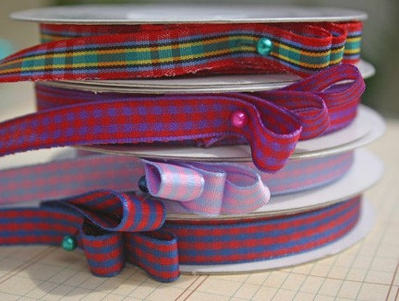 Gingham Trim Red Purple - 5 Yards - Scrapbooking Crafting Embellishments