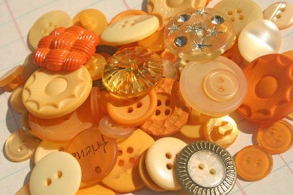 Orange Buttons Hand Dyed Autumn Embellishments - Pumpkin Farm