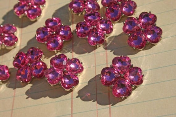 Pink Rhinestone Buttons - Sewing Headband Embellishments - 12 Buttons - 22mm - SALE