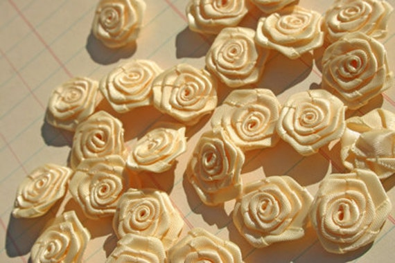 Cream Satin Ribbon Roses - Sewing Applique Rose - 36 Roses - LAST SET