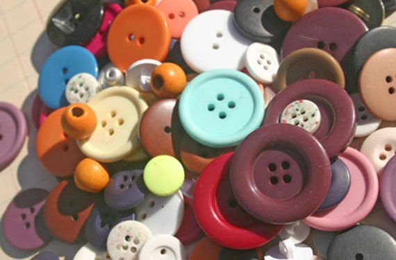 Assorted Buttons Pink Purple White Brown Black - Sewing Embellishments - 100 Buttons - Grandma's Button Jar - LAST PACK