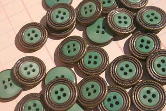 Assorted Buttons Green Hand Dyed - METAL RIMMED Sewing Embellishments - Spearmint