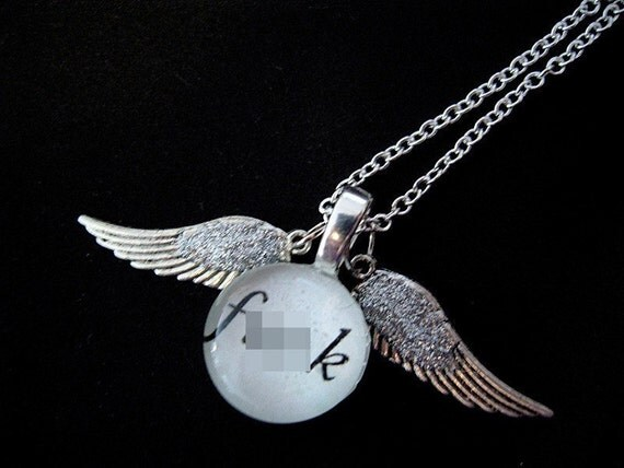Mature Sparkly Flying F--- Necklace
