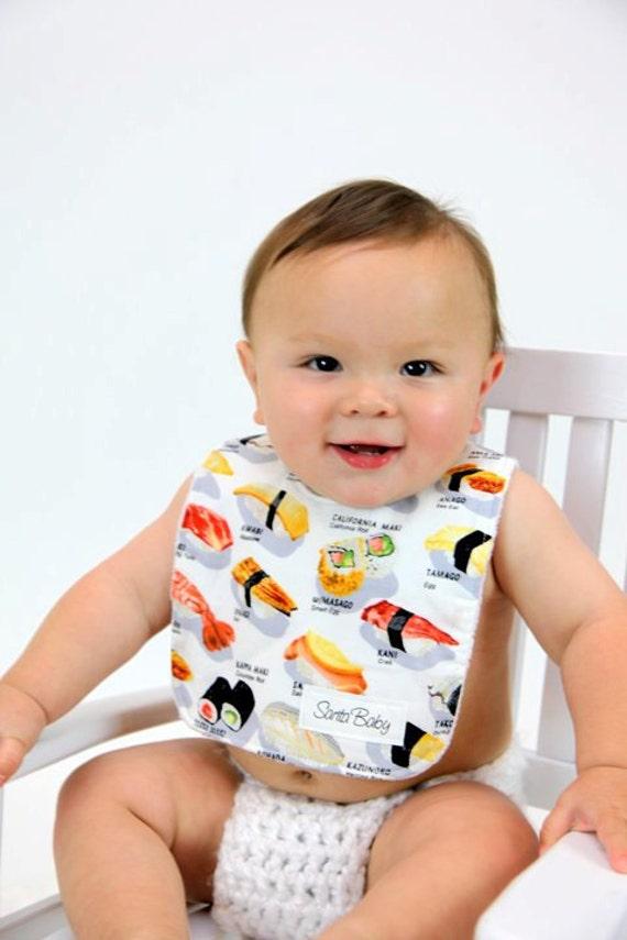 Sushi Minky Baby Bib