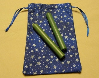 Blue Cotton Silver Stars Drawstring Pouches Set of 3 Different Sizes