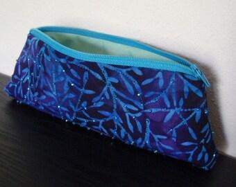 Beaded Blue Batik Zipper Pouch