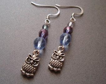 Blue and Purple Czech Glass Owl Earrings