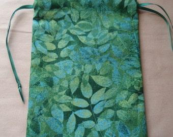 Fallen Leaves - Green Cotton Drawstring Pouches Set of 3