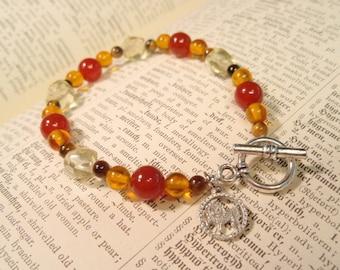 Leo - Zodiac Charm Amber Coral Tigers Eye and Yellow Quartz Toggle Clasp Bracelet