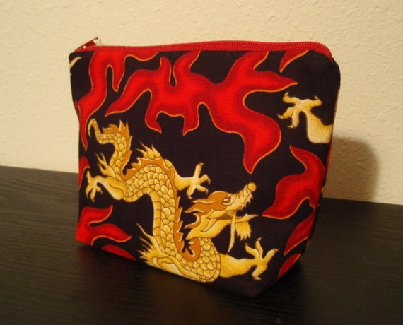 Gold and Red Flame Dragon Zipper Pouch