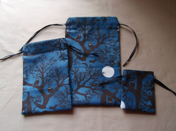 Dark Blue Night Owl Cotton Drawstring Pouches - Set of 3 Different Sizes
