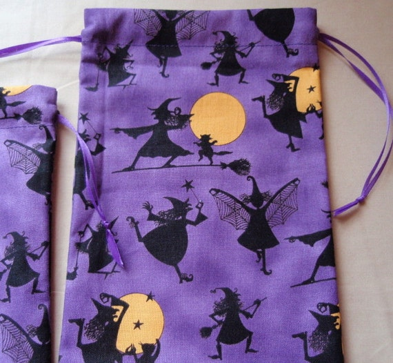 Purple Dancing Witches Cotton Drawstring Pouches Set of 3 Different Sizes
