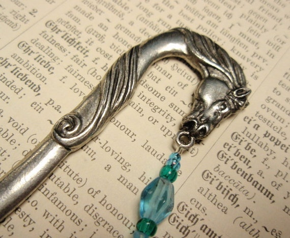 Sky Blue Epona the Horse Goddess Beaded Bookmark - Lead Free Pewter Glass Beads Celtic Knot Charm