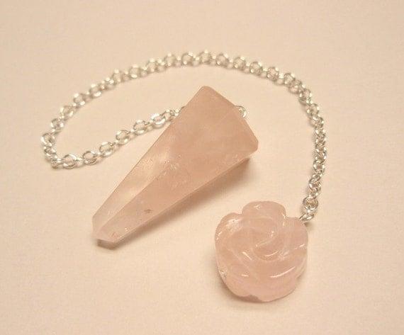 Rose Quartz Dowsing Pendulum Carved Rose Flower Bead