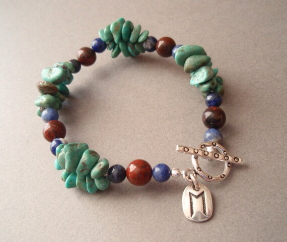 Ehwaz - Rune Charm Turquoise Sodalite Brecciated Jasper Bracelet Sterling Silver Toggle Clasp