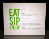 Printable DIY Menu for Wedding or Bridal Shower - Eat, Sip Enjoy