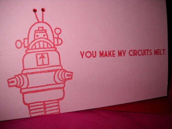 You Make My Circuits Melt Valentine's Day Card Pink and Red