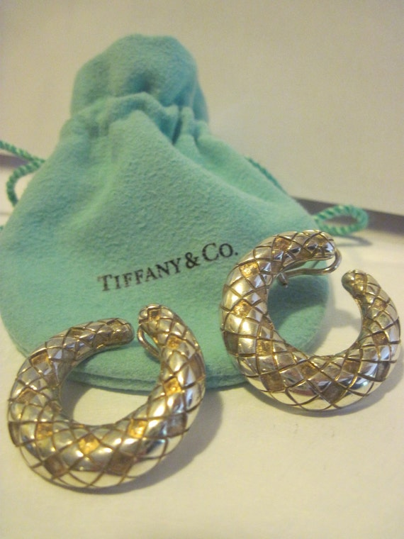80's Tiffany & Co. Textured Hoop Sterling Silver  Pierced Earrings
