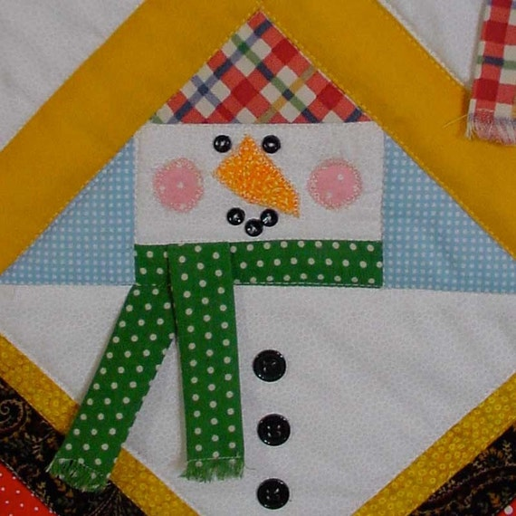 Pieced and Quilted Christmas Snowman Table Topper
