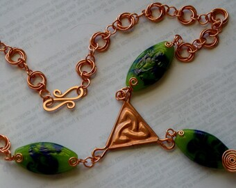 Copper Chain Mail and Lamp Glass Celtic Trefoil Transition Drop Necklace