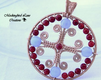 Celtic Cross Pendant in Copper with blue chalcedony and dyed red stone beads