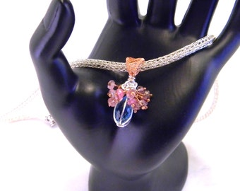 Baby's Breath-Swiss Blue Topaz & Pink Tourmaline Cluster Sterling Trichinopoly Necklace
