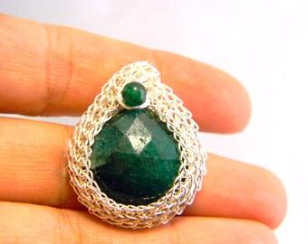 Green Chalcedony, Green Adventurine, sterling silver trichinopoly bezel pendant.