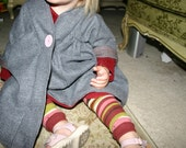 RESERVED COUPON Custom Grey Pinstripe Wool and Pink Wallpaper liner 2-3yrs.