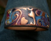 Blue Leather Bracelet with Embossed Vines on Copper
