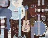 Michael Miller Jam Session BROWN Cotton Quilting Fabric - Half Yard - CX4389 Guitar Music Guitars