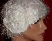 Wedding  Hat Flapper 1920s Cloche Hat Antique White Flapper Hat