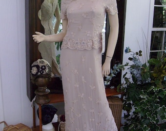 Vintage Flapper Dress Exclusive Beaded Embroidery does 20-30s Wedding Bridal Size 6 or S/M