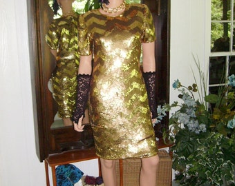 Vintage Scarlet Rage  Flapper Dress Gold Fully Beaded   does 20-30s  Size S