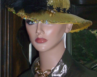 1920s Hat Flapper Topper Hat Gold Tea Party