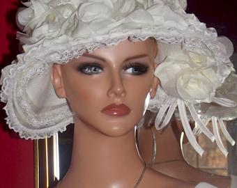 Wedding  Victorian style Church  Flapper Hat Cloche Bridal Floral