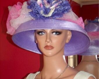 Kentucky Derby Hat Church Hat  Wide Brim  Millinery Flower  Rose Purple