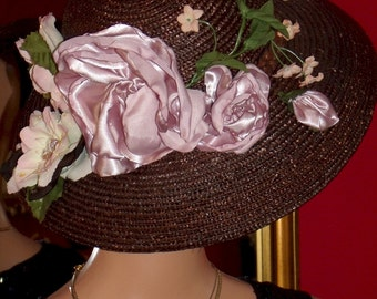 Kentucky Derby Hat Church Hat Tea Wide Brim Hat Wedding Millinery Floral Brown Natural Straw