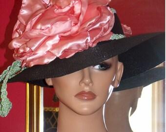 Summer Wide Brim Derby Hat Church Hat Tea Flapper Hat Wedding  Millinery Pink Rose
