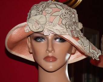 Church Hat  Derby 1920 style Hat Flapper Hat Cloche Summer Hat Embroidery