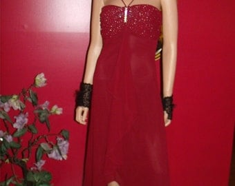 Burgundy  Vintage 80s Dress  does  Tea Party 20-30 style   Evening  Size Small