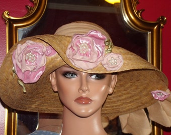 Natural Straw Summer Hat Derby Hat Church Hat Tea Garden Party Hat Wedding Wide Brim Pink Floral