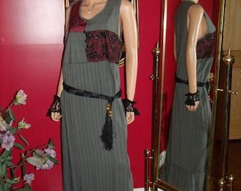 Vintage Celia Forrester Tapestry Patch Work Jumper  Dress Flapper  Tea Party Office  Size M