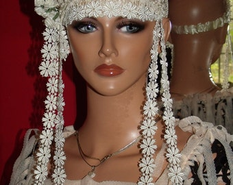 Antique  style Tiara Headband Wrap Antique art work Flapper 1920s Lace Wedding, Party 20s