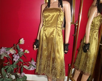 Vintage  Deco  Evening Dress Flapper Dress Tea Party 1920 Theme Size 2