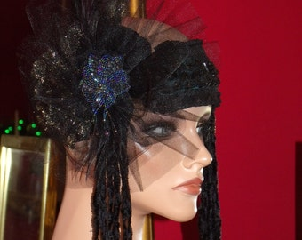 Headband  Millinery Floral  Sequins Flapper  1920 style Wrap